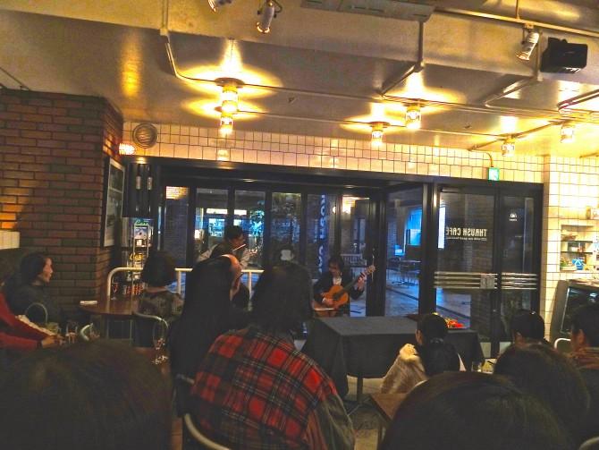 福岡市中央区スラッシュカフェにて フルート大村友樹さん、ギター橋口武史