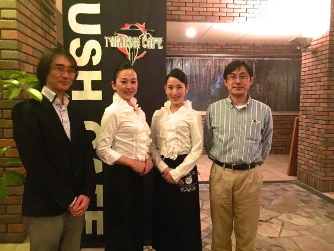 フルーツアートの青山貴子さんと北山恵子さん。 フルート 大村友樹さん ギター橋口武史